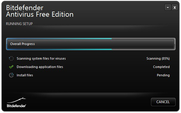 Bitdefender Free Antivirus scan screen