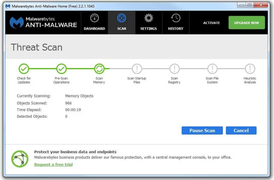 Malwarebytes free scan screen